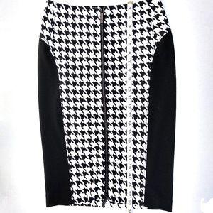 Michael Kors Houndstooth and black skirt